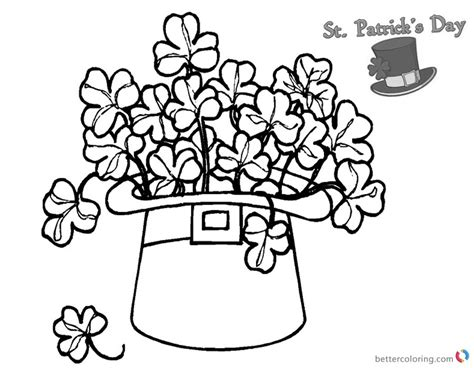 St Patricks Day Shamrock Coloring Pages Flowers In Hat
