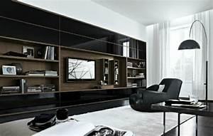 Wohnwand Schwarz Holz : elegante wohnwand ideen gestalten sie ihre wohnzimmer mit stil ~ Markanthonyermac.com Haus und Dekorationen