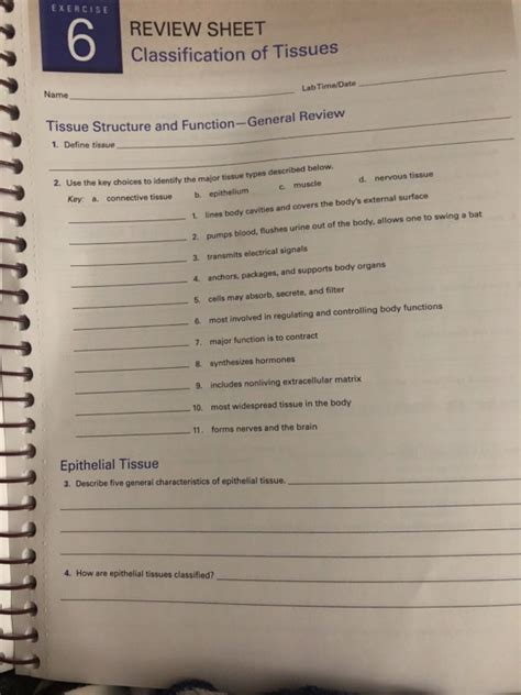 solved exercise 6 review sheet classification of tissues chegg