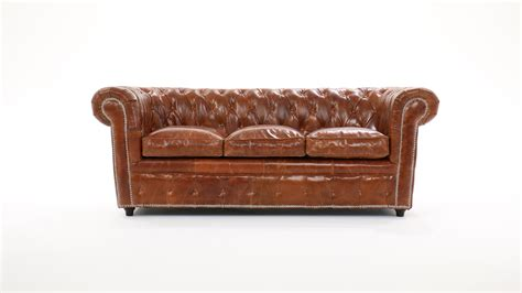 canap 233 chesterfield 3 places cuir marron capitonn 233 vintage maisons du monde