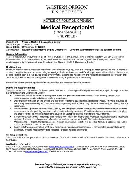 front desk medical receptionist job description front office receptionist desk resume