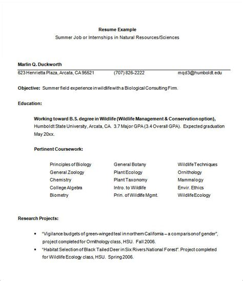 Exle Of A Resume For Internship by Internship Resume Template 11 Free Sles Exles
