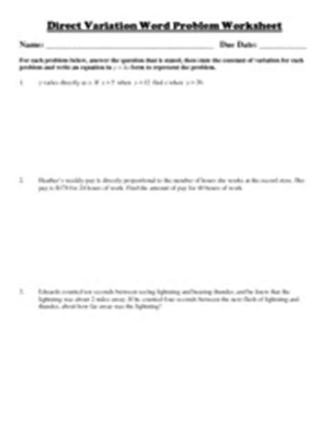 Direct Variation Word Problem Worksheet