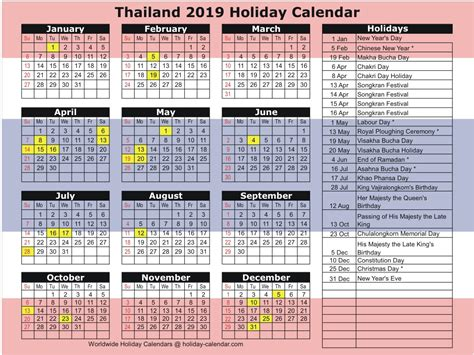 thailand holiday calendar