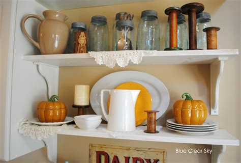 Rustic Maple Kitchen Shelves For Fall