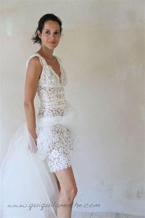 robe de chambre dentelle robe de mariée en dentelle de calais romantique courte et