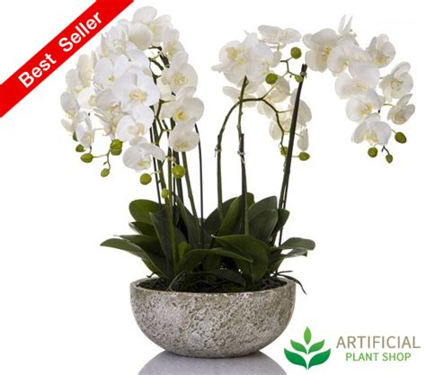 glass bowl with plants artificial orchid in clay pot 62cm