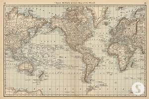 Wall mural poster old vintage antique maps World Atlas Map