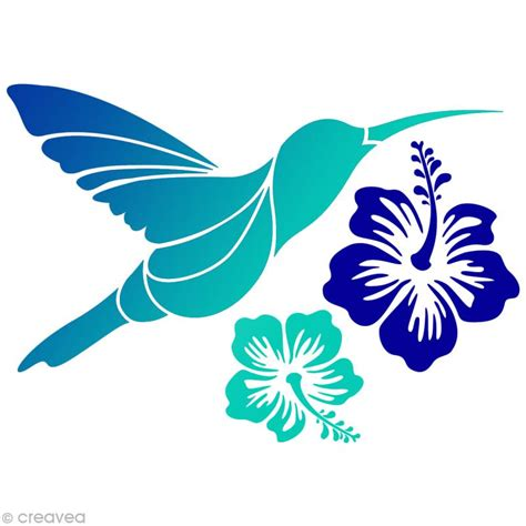 colibri cuisine pochoir home déco a4 colibri hibiscus pochoir mural