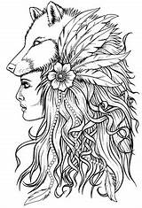 Wolf Coloring Pages Designs Goth Native American Number Tattoos Queen Lost Coast sketch template