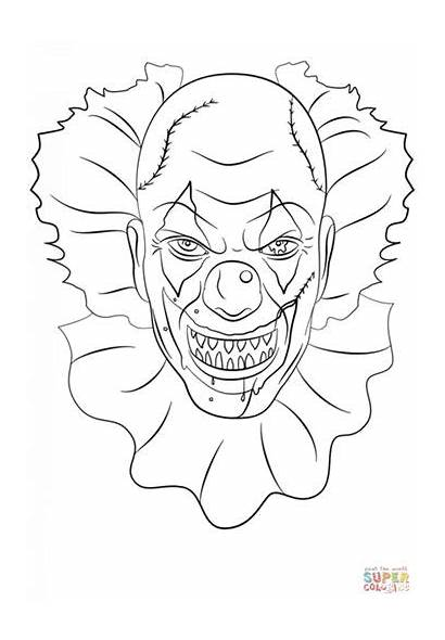 Clown Scary Clowns Coloring Pages Tattoo Books