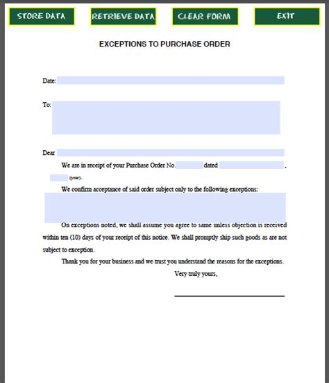 letter  exceptions  purchase order  images