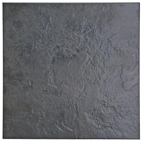 Cirque Black Stone Effect Ceramic Floor Tile, Pack of 9