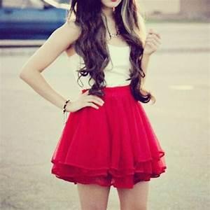 Skirt: skater skirt, red skirt, blouse, spring skirt, red ...