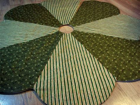 holly stripe christmas tree skirt in traditional country