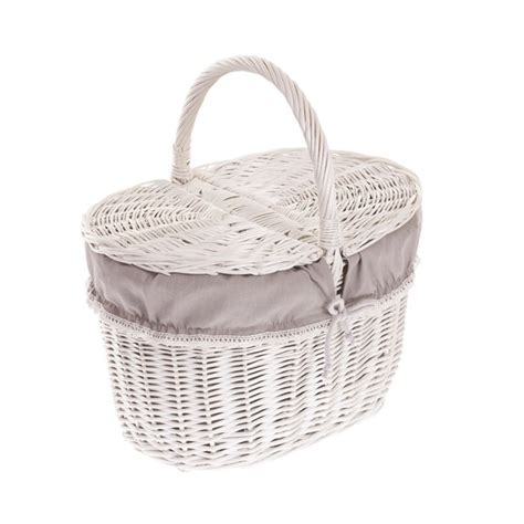 shabby chic baskets shabby chic wicker picnic basket with pretty lining bicycle basket white collection tytuł