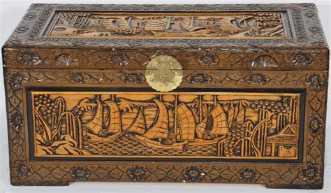 Asian Furniture: Trunk with Hand Carved Boats and Village