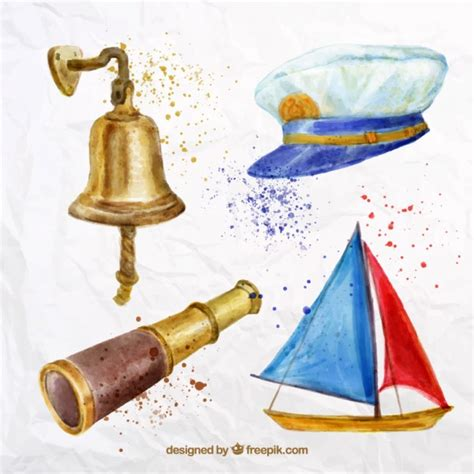 Sailing Boat Elements by Watercolor Sailing Elements Pack Vector Free Download