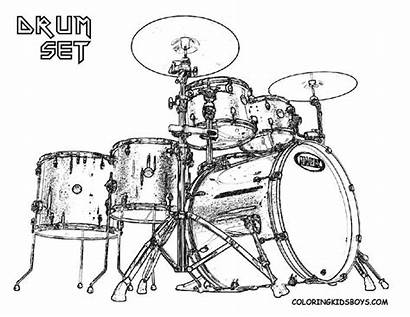 Drum Coloring Drums Drawing Pages Instruments Drummer