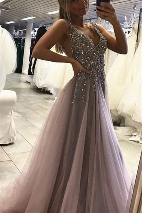 sexy side split sleeveless tulle evening dress long prom
