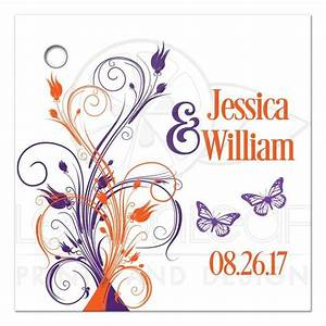 personalized wedding favor tag purple orange white With kitchen colors with white cabinets with personalized stickers for wedding favors