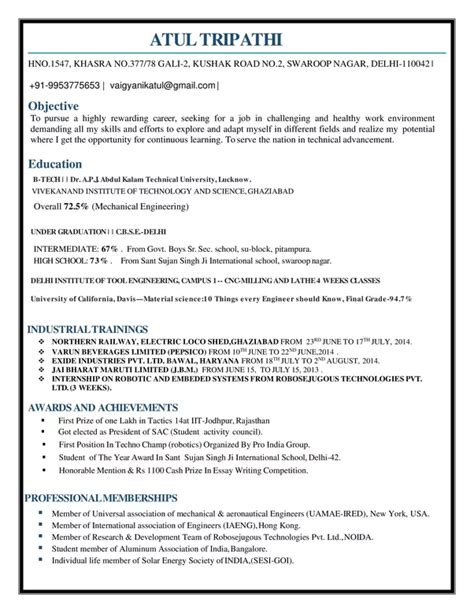 resume mechanical engineer india krida info
