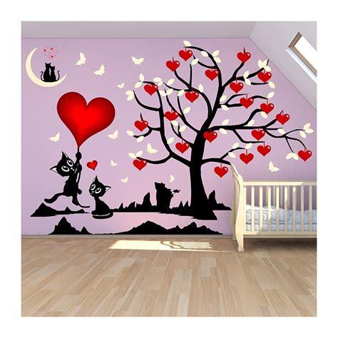 sticker chambre stickers chambre fille arbre et chats où les coeurs