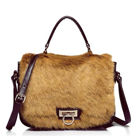 Cowhide Handbags by Hair Match Cowhide Shoulder Bag Coffee