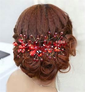 Buy Wholesale Plum Flower Red Crystal Bead Hairwear