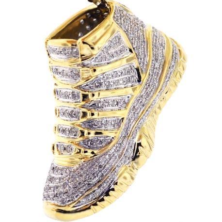 mens diamond high top sneaker pendant  yellow gold ct