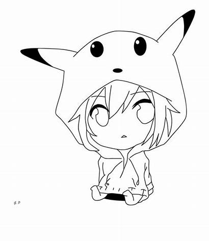 Chibi Pikachu Drawing Outlines Clipart Human Clip