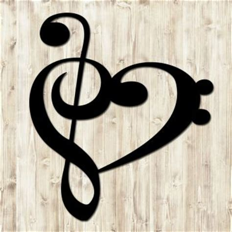 treble clef base clef heart wall sign home decor