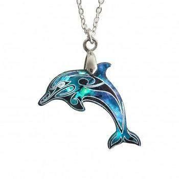 dolphin  zealand paua shell pendant silverfernzcom