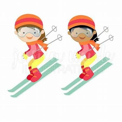 Skiing Clipart Clip Skier Downhill Ski Winter