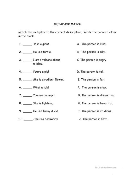 metaphor match worksheet free esl printable worksheets