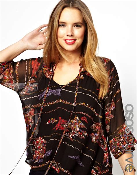 swing blouses asos curve swing blouse with tie neck in woodland