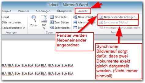 microsoft word  zwei dokumente nebeneinander
