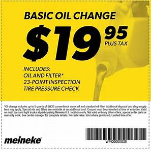 meineke Coupon: $19 95 + Tax For Basic Oil Change - 1/2/2016