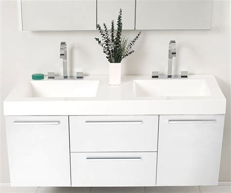 modern double sink vanity fresca fvn8013go opulento 54 inch white modern double sink