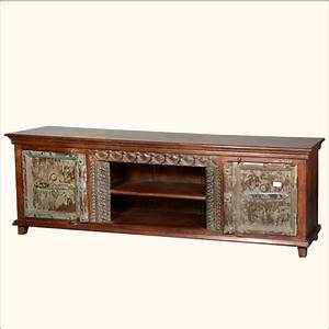 Antique style reclaimed wood media console rustic tv stand for Barnwood media cabinet