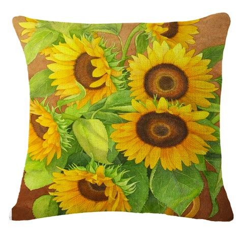 Sunflower Home Decor Throw Pillow Case Sofa Waist Cushion