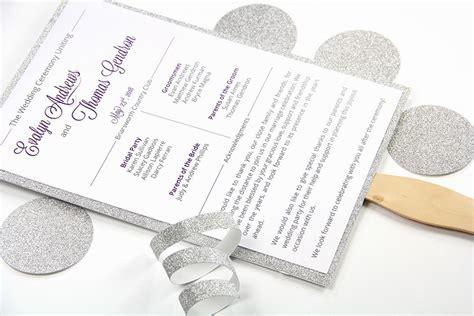 printable glitter layered wedding program diy