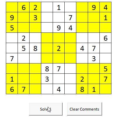 solve sudoku puzzles  excel macros excel games