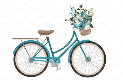 vintage blue vector bicycle flower illustrations  creative market