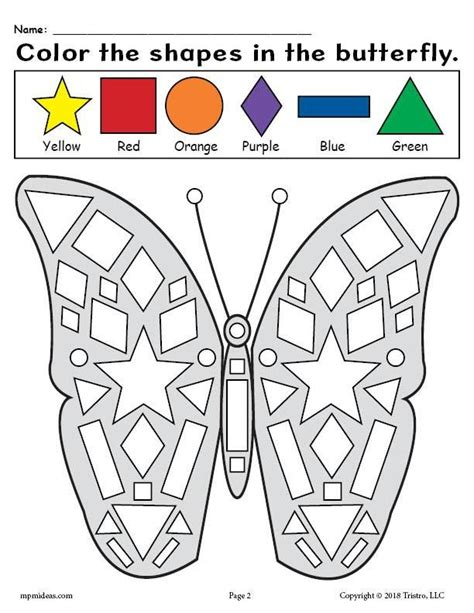printable butterfly shapes coloring pages preschool