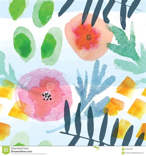 modern floral seamless pattern in watercolor technique