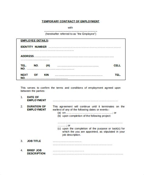 temporary contract template sle employment contract forms 11 free documents in pdf doc