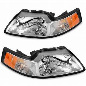 Chrome Housing Headlights For 1999-2004 Ford Mustang Pair Replacement Left+Right 2000 2001 2002 ...