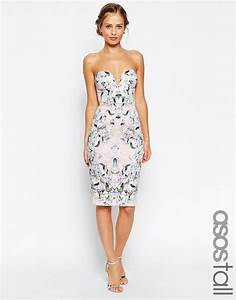 image 1 of asos tall floral curved plunged neck pencil With pencil dress wedding guest