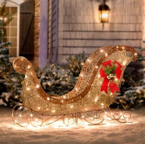 christmas outdoor lighted santa glittering sleigh yard